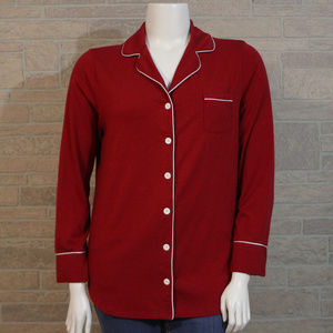 Soma Intimated XL Red Button Up Pajama Top Shirt